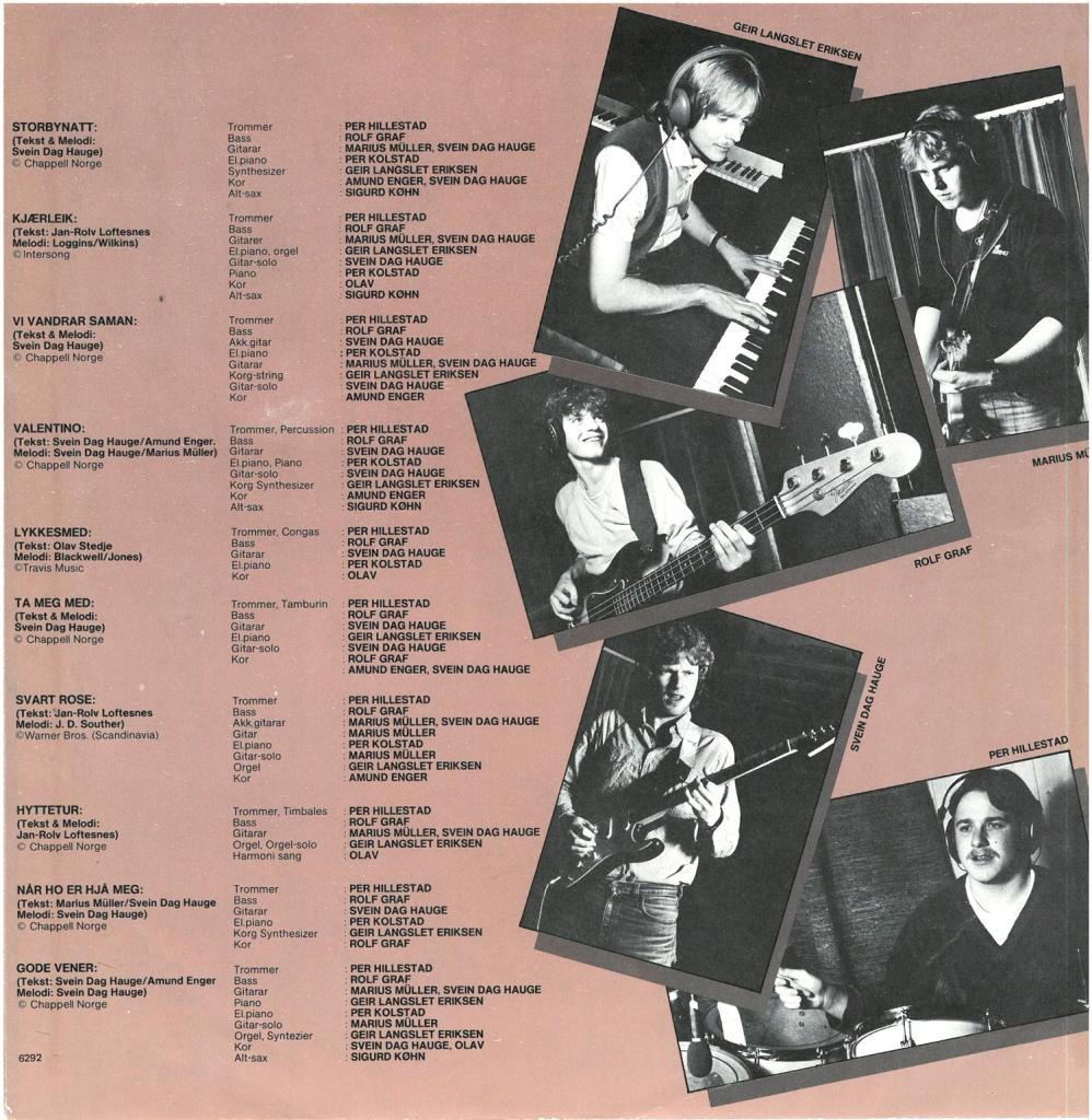 """Du skal lete lenge for å finne halvgode musikere på Stedjes debutplate """"Ta meg med"""". Dette er fra Innsiden av LP-platen. (Stor takk til  Olav Stedje, som på forespørsel hjalp oss med scan av coveret!)"""