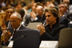 WIPOs øverste leder, Director General Francis Gurry (t.v.) og CISAC-president Jean Michel Jarre i Geneve for to uker siden. (Foto: Eilon Paz)